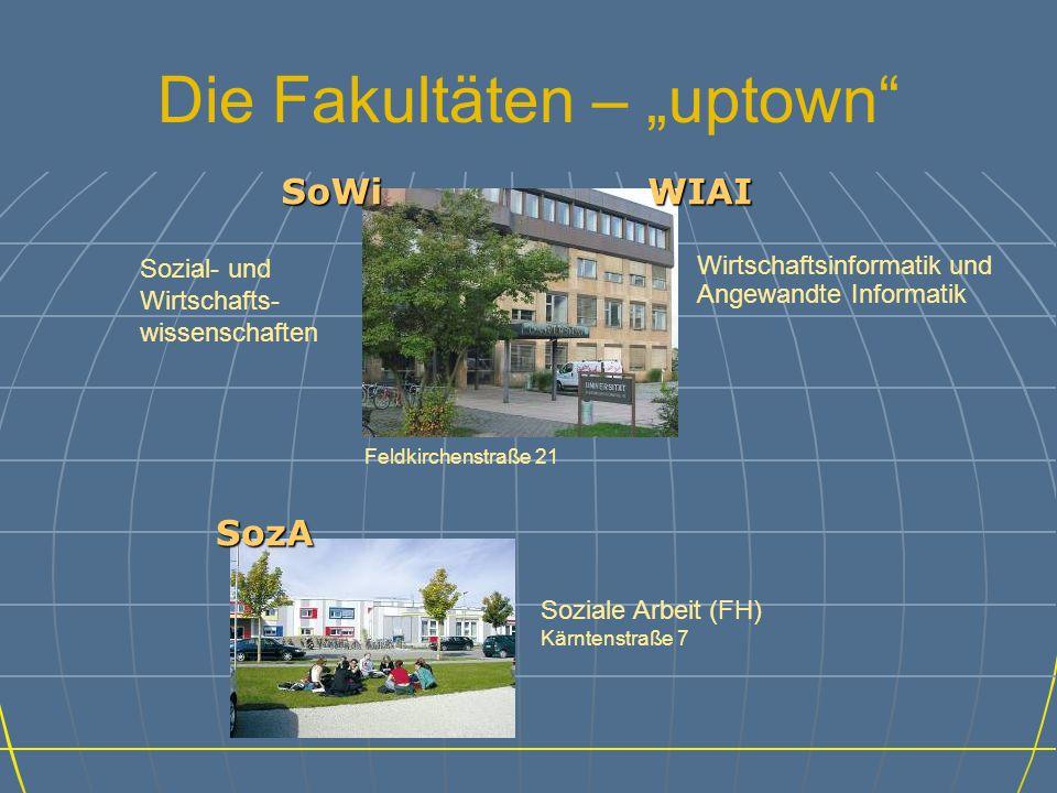 Die Fakultäten – uptown SoWi Sozial- und Wirtschafts- wissenschaften Feldkirchenstraße 21 Wirtschaftsinformatik und Angewandte Informatik WIAI SozA Soziale Arbeit (FH) Kärntenstraße 7
