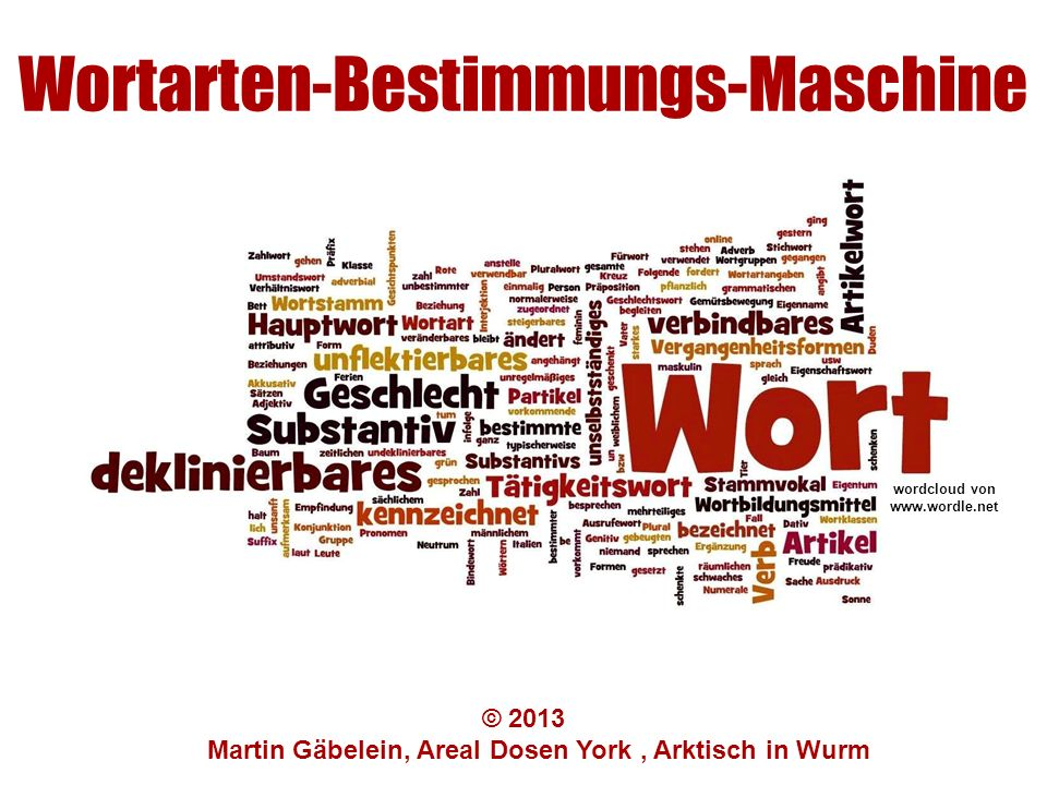 Wortarten-Bestimmungs-Maschine © 2013 Martin Gäbelein, Areal Dosen York, Arktisch in Wurm wordcloud von www.wordle.net