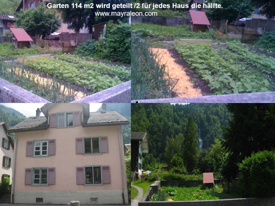 Garten 114 m2 wird geteilt /2 für jedes Haus die hälfte. www.mayraleon.com