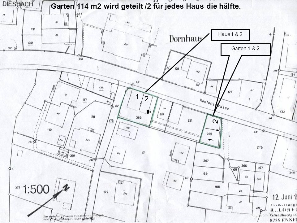 Garten 114 m2 wird geteilt /2 für jedes Haus die hälfte. Garten 1 & 2 1 2 Haus 1 & 2 2 1