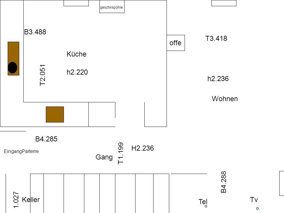 B3.488 T2.051 Tv Tel h2.220 T1.199 B4.288 B4.285 T3.418 EingangParterre Küche Wohnen Gang H2.236 h2.236 Keller 1.027 geschirspühle offe