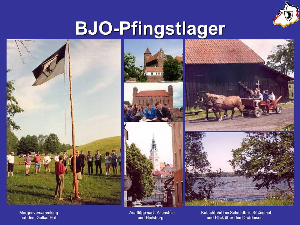 BJO-Pfingstlager Morgenversammlung Ausflüge nach Allenstein Kutschfahrt bei Schmidts in Süßenthal auf dem Gollan-Hof und Heilsberg und Blick über den