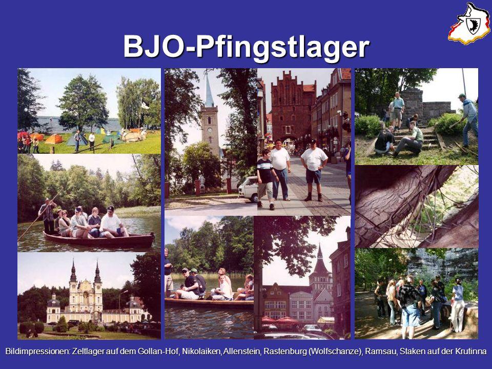BJO-Pfingstlager Bildimpressionen: Zeltlager auf dem Gollan-Hof, Nikolaiken, Allenstein, Rastenburg (Wolfschanze), Ramsau, Staken auf der Krutinna