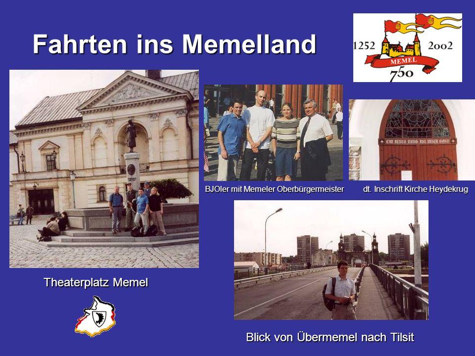 Fahrten ins Memelland Theaterplatz Memel BJOler mit Memeler Oberbürgermeister dt. Inschrift Kirche Heydekrug Blick von Übermemel nach Tilsit