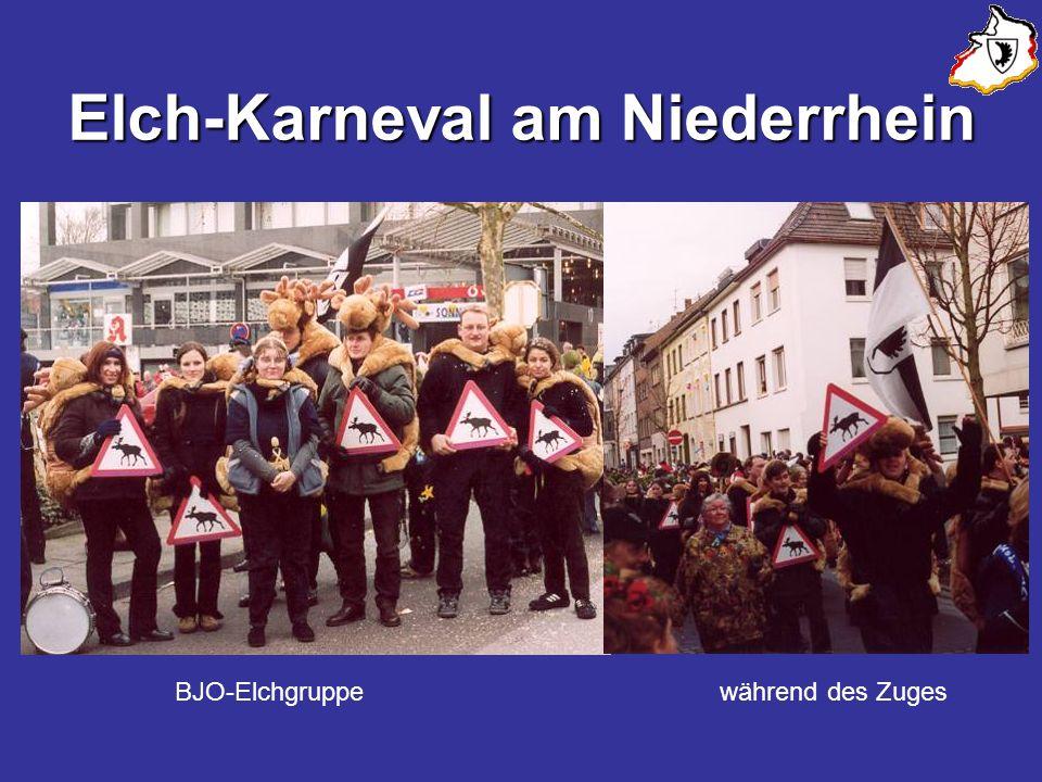 Elch-Karneval am Niederrhein BJO-Elchgruppe während des Zuges