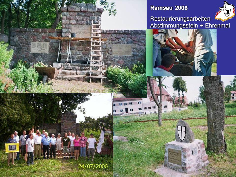 sss Kriegerehrenmal und VolksabstimmungssteinRamsau/Sauerbaum Ramsau 2006 Restaurierungsarbeiten Abstimmungsstein + Ehrenmal