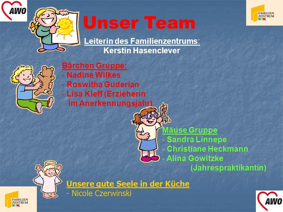 Unser Team Bärchen Gruppe: - Nadine Wilkes - Roswitha Guderian - Lisa Kleff (Erzieherin im Anerkennungsjahr) Mäuse Gruppe - Sandra Linnepe - Christian