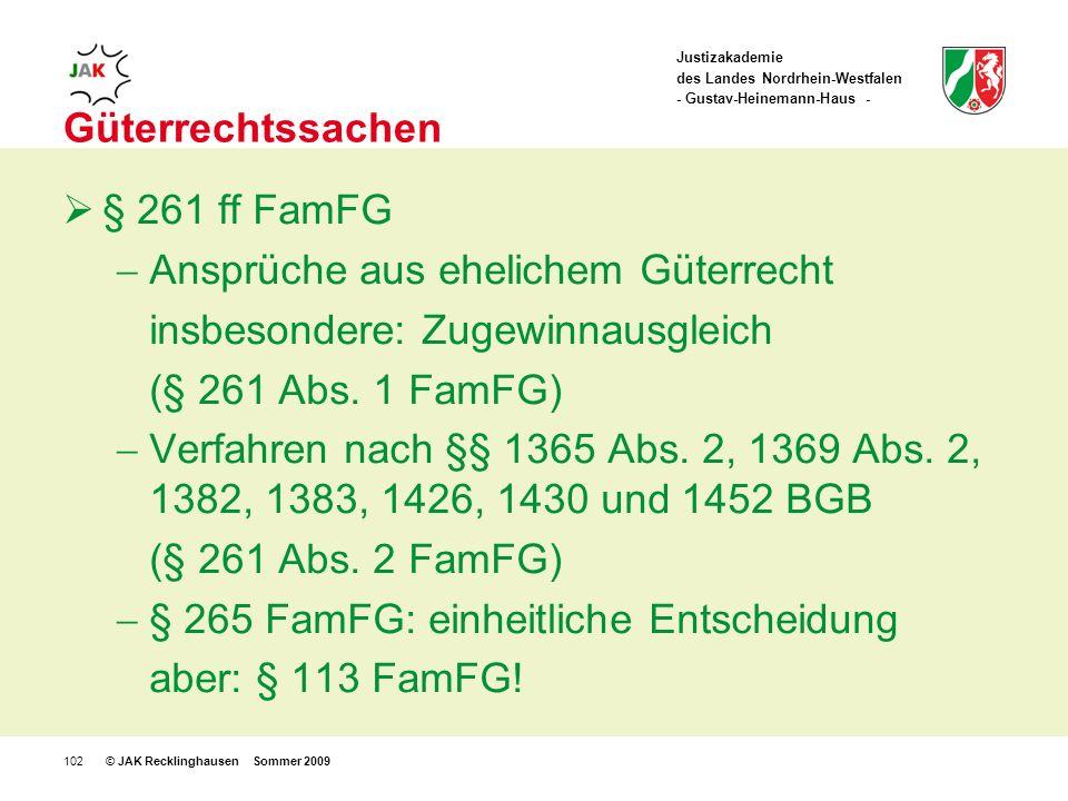 Justizakademie des Landes Nordrhein-Westfalen - Gustav-Heinemann-Haus - © JAK Recklinghausen Sommer 2009102 Güterrechtssachen § 261 ff FamFG Ansprüche aus ehelichem Güterrecht insbesondere: Zugewinnausgleich (§ 261 Abs.