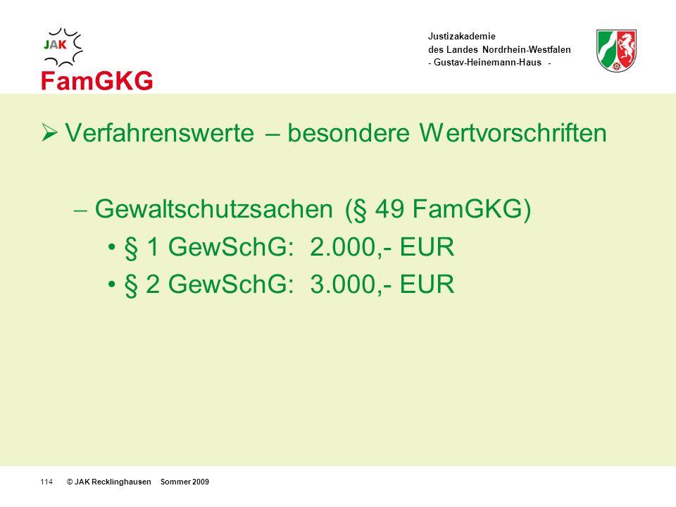 Justizakademie des Landes Nordrhein-Westfalen - Gustav-Heinemann-Haus - © JAK Recklinghausen Sommer 2009114 FamGKG Verfahrenswerte – besondere Wertvorschriften Gewaltschutzsachen (§ 49 FamGKG) § 1 GewSchG:2.000,- EUR § 2 GewSchG:3.000,- EUR