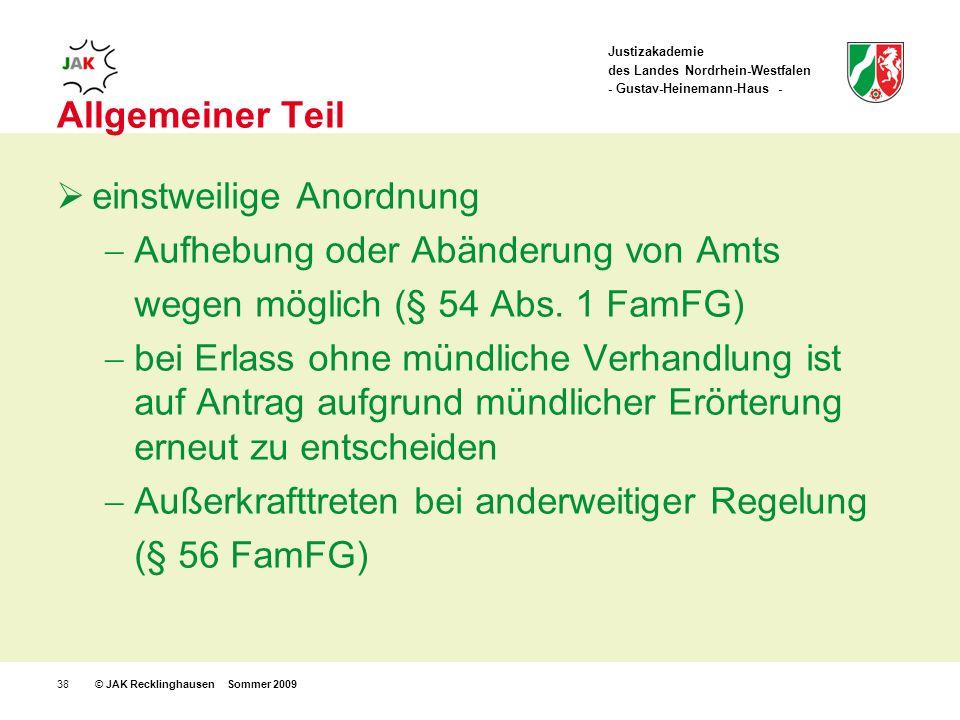 Justizakademie des Landes Nordrhein-Westfalen - Gustav-Heinemann-Haus - © JAK Recklinghausen Sommer 200938 Allgemeiner Teil einstweilige Anordnung Aufhebung oder Abänderung von Amts wegen möglich (§ 54 Abs.