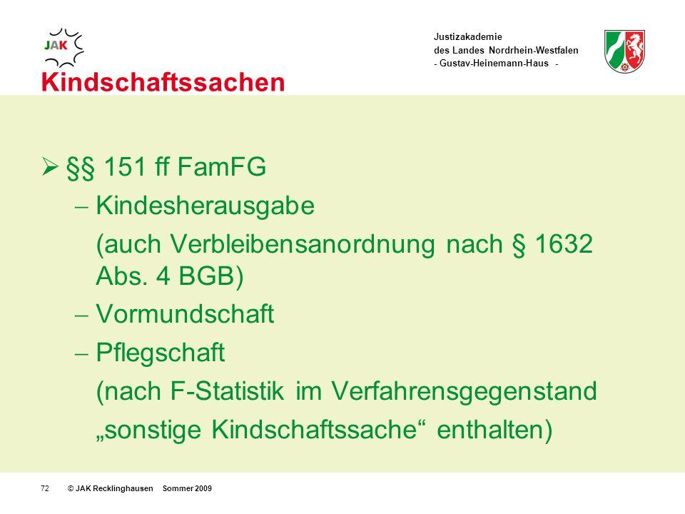 Justizakademie des Landes Nordrhein-Westfalen - Gustav-Heinemann-Haus - © JAK Recklinghausen Sommer 200972 Kindschaftssachen §§ 151 ff FamFG Kindesherausgabe (auch Verbleibensanordnung nach § 1632 Abs.