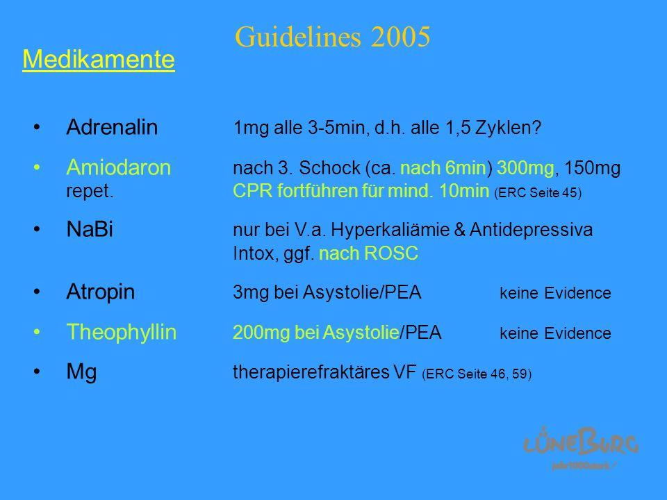 Guidelines 2005 Adrenalin 1mg alle 3-5min, d.h. alle 1,5 Zyklen? Amiodaron nach 3. Schock (ca. nach 6min) 300mg, 150mg repet.CPR fortführen für mind.