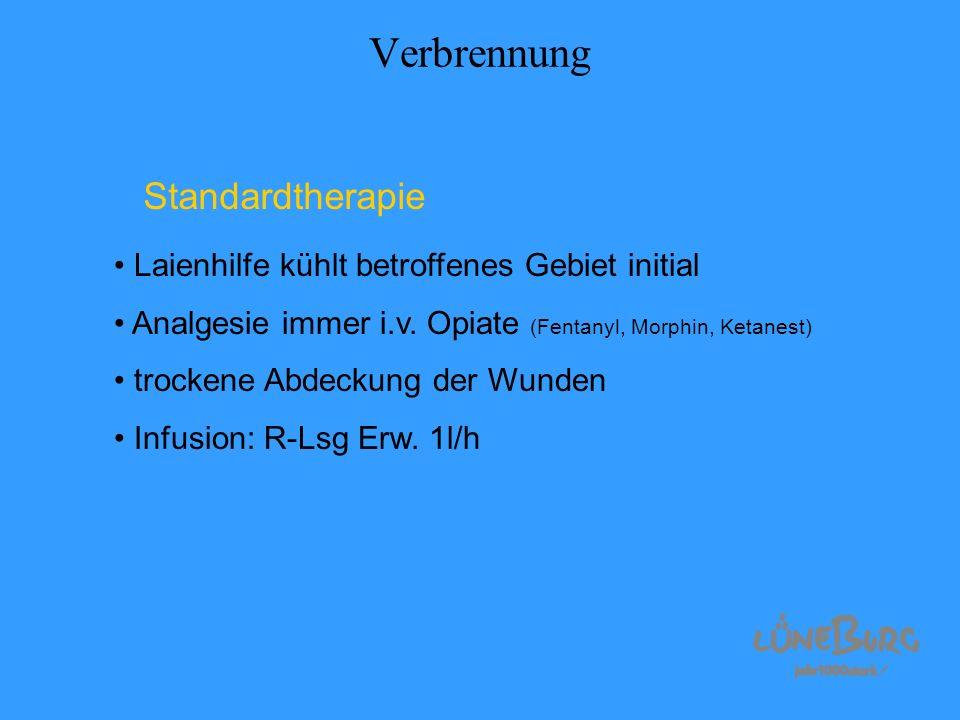Verbrennung Standardtherapie Laienhilfe kühlt betroffenes Gebiet initial Analgesie immer i.v. Opiate (Fentanyl, Morphin, Ketanest) trockene Abdeckung