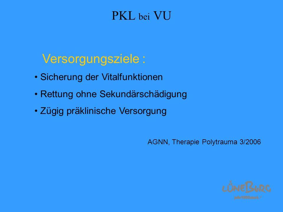 PKL bei VU Versorgungsziele : Sicherung der Vitalfunktionen Rettung ohne Sekundärschädigung Zügig präklinische Versorgung AGNN, Therapie Polytrauma 3/