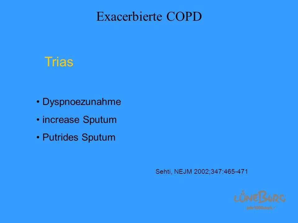 Exacerbierte COPD Trias Dyspnoezunahme increase Sputum Putrides Sputum Sehti, NEJM 2002;347:465-471