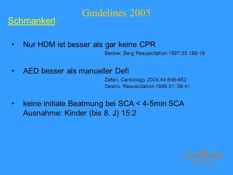 Guidelines 2005 Nur HDM ist besser als gar keine CPR Becker, Berg Resuscitation 1997;35:189-19 AED besser als manueller Defi Zafari, Cardiology 2004;4