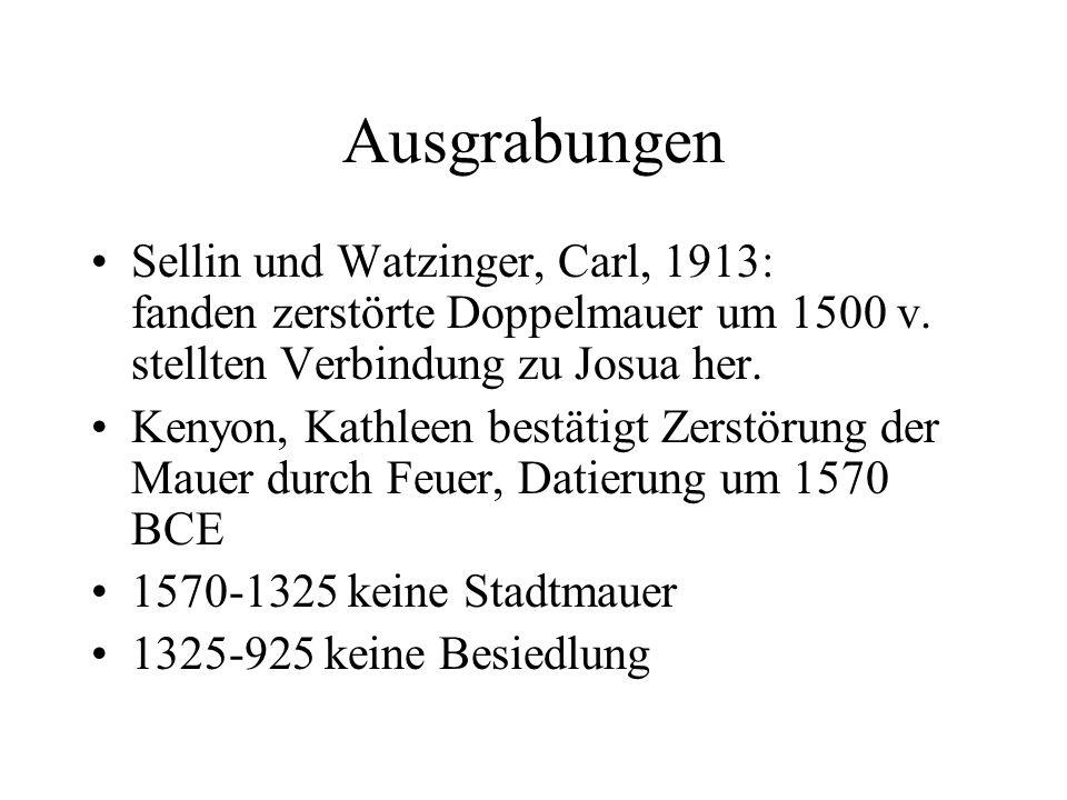 Ausgrabungen Sellin und Watzinger, Carl, 1913: fanden zerstörte Doppelmauer um 1500 v.