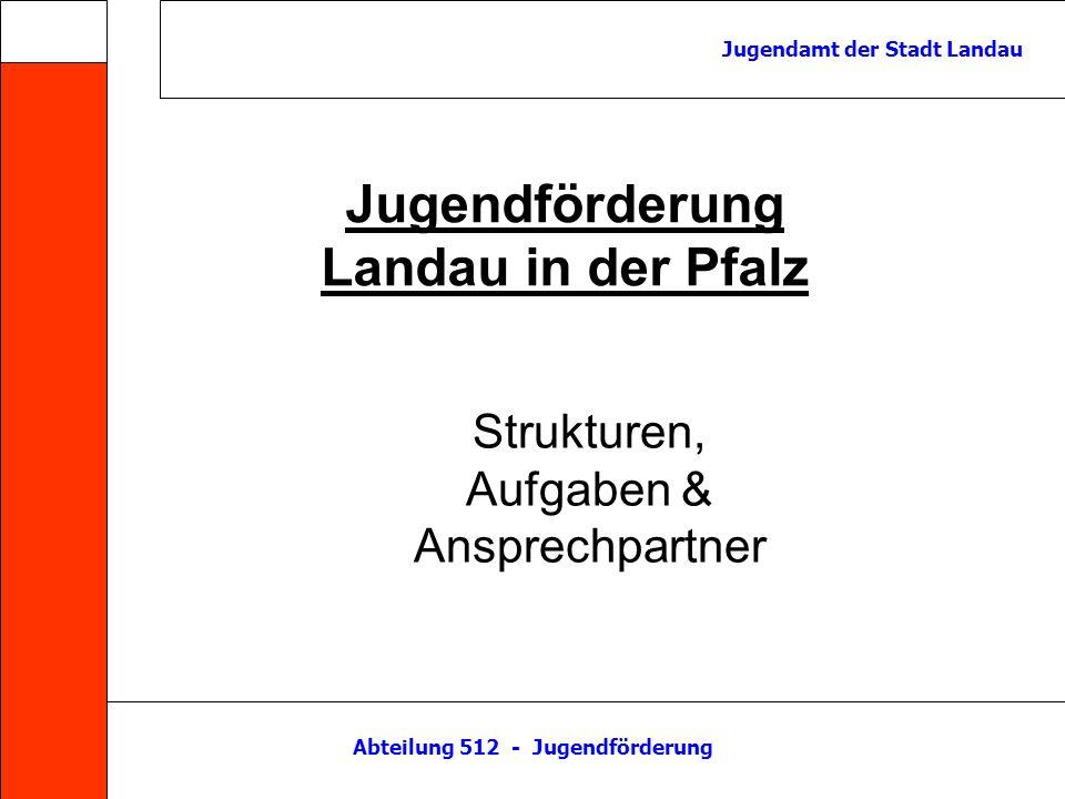 Abteilung 512 - Jugendförderung Jugendamt der Stadt Landau Jugendförderung Jugend- pflege Jugend- arbeit Jugend- schutz Haus der Jugend Jugend- treff Horst Jugend- hilfe- planung