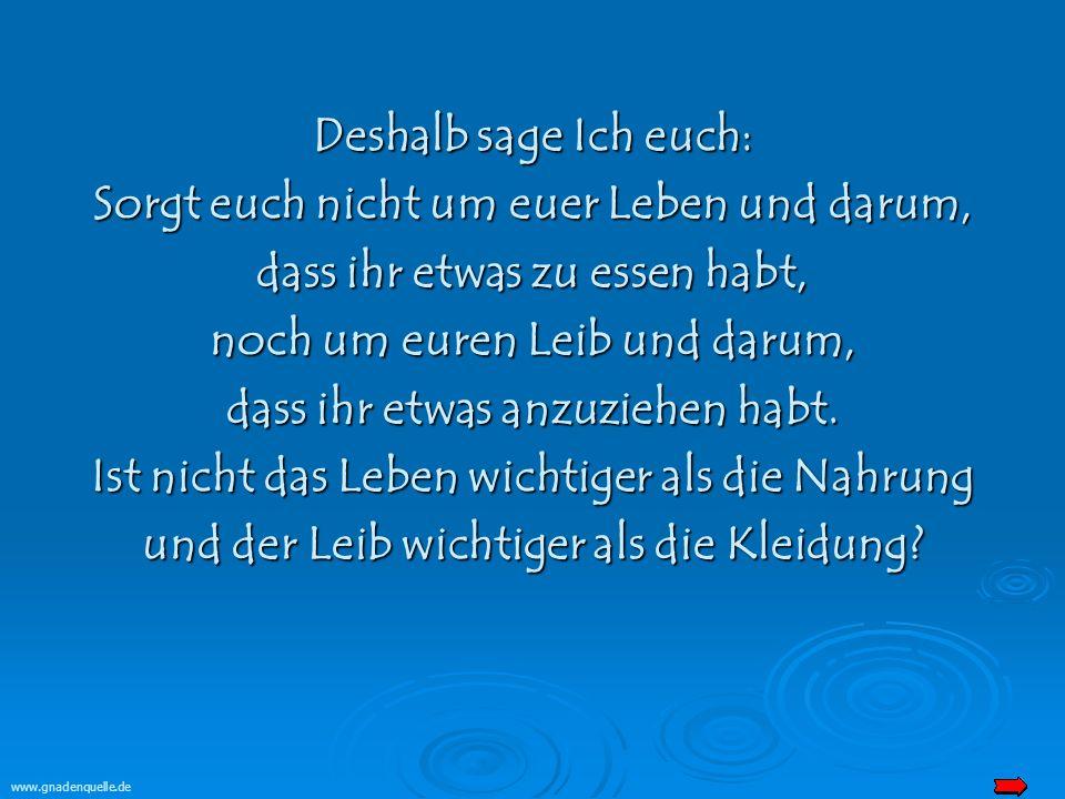 www.gnadenquelle.de Deshalb sage Ich euch: Sorgt euch nicht um euer Leben und darum, dass ihr etwas zu essen habt, noch um euren Leib und darum, dass ihr etwas anzuziehen habt.