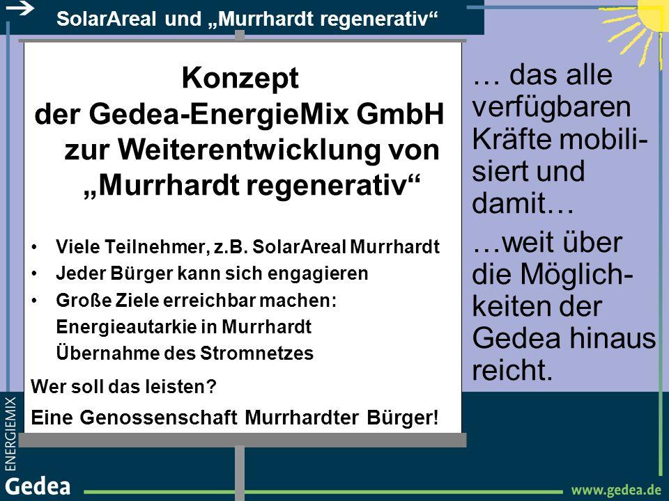 SolarAreal und Murrhardt regenerativ Konzept der Gedea-EnergieMix GmbH zur Weiterentwicklung von Murrhardt regenerativ Viele Teilnehmer, z.B. SolarAre