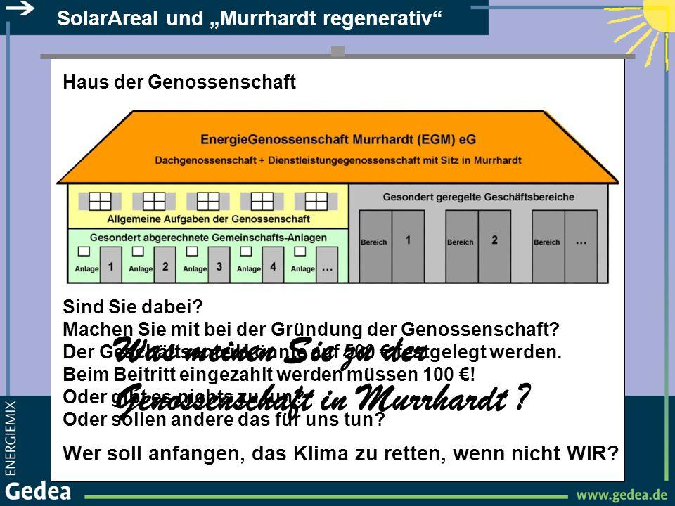 SolarAreal und Murrhardt regenerativ Haus der Genossenschaft Sind Sie dabei? Machen Sie mit bei der Gründung der Genossenschaft? Der Geschäftsanteil k