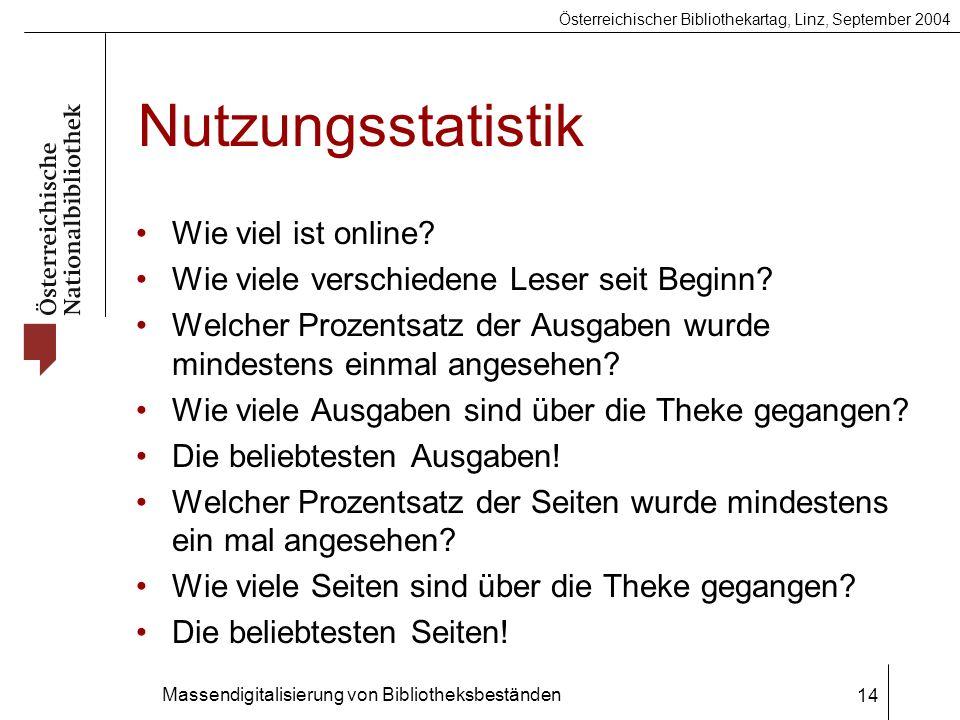 Österreichischer Bibliothekartag, Linz, September 2004 Massendigitalisierung von Bibliotheksbeständen 14 Nutzungsstatistik Wie viel ist online.