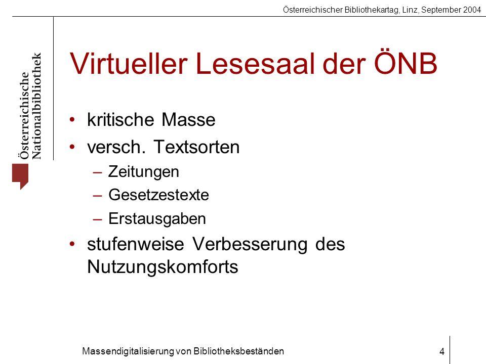 Österreichischer Bibliothekartag, Linz, September 2004 Massendigitalisierung von Bibliotheksbeständen 4 Virtueller Lesesaal der ÖNB kritische Masse versch.