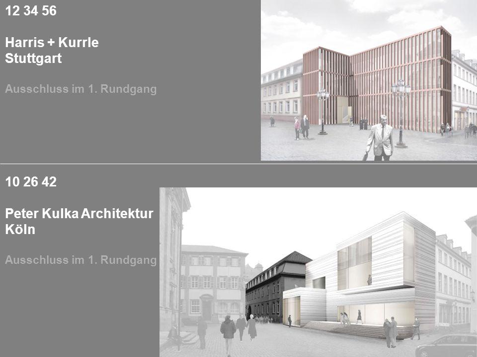 10 26 42 Peter Kulka Architektur Köln Ausschluss im 1. Rundgang 12 34 56 Harris + Kurrle Stuttgart Ausschluss im 1. Rundgang