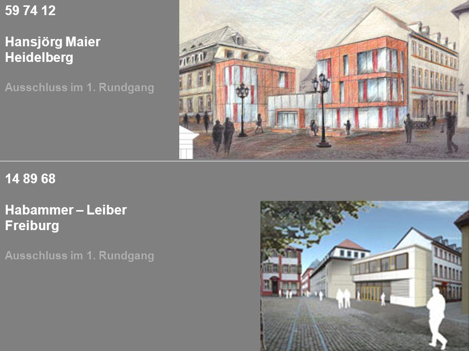 59 74 12 Hansjörg Maier Heidelberg Ausschluss im 1. Rundgang 14 89 68 Habammer – Leiber Freiburg Ausschluss im 1. Rundgang