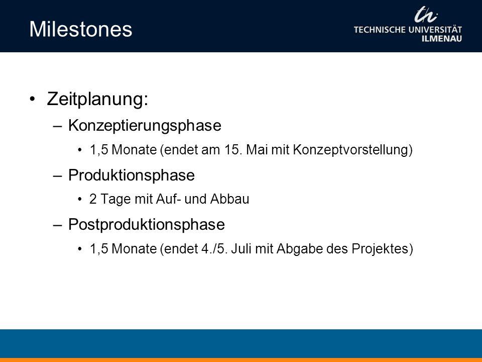 Milestones Zeitplanung: –Konzeptierungsphase 1,5 Monate (endet am 15. Mai mit Konzeptvorstellung) –Produktionsphase 2 Tage mit Auf- und Abbau –Postpro
