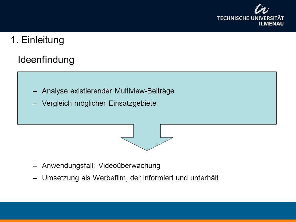 Ideenfindung –Analyse existierender Multiview-Beiträge –Vergleich möglicher Einsatzgebiete –Anwendungsfall: Videoüberwachung –Umsetzung als Werbefilm, der informiert und unterhält 1.