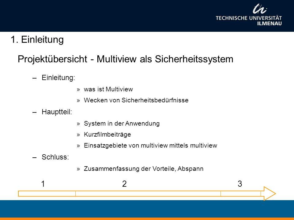 Projektübersicht - Multiview als Sicherheitssystem –Einleitung: »was ist Multiview »Wecken von Sicherheitsbedürfnisse –Hauptteil: »System in der Anwen