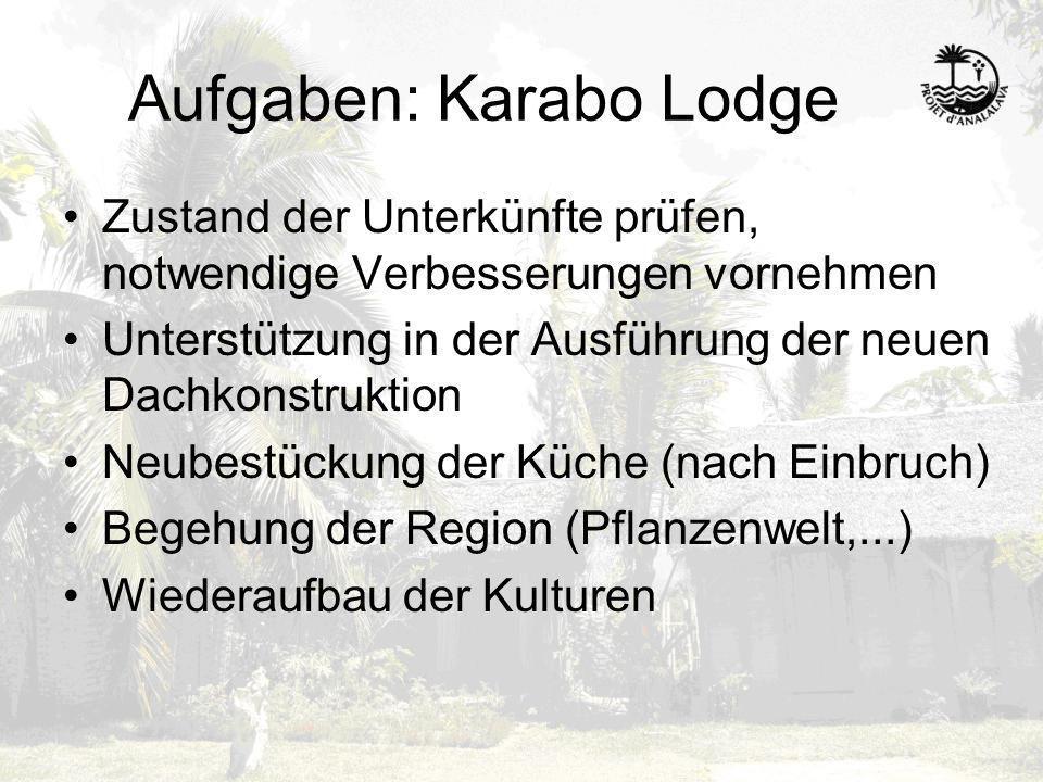 Aufgaben: Karabo Lodge Zustand der Unterkünfte prüfen, notwendige Verbesserungen vornehmen Unterstützung in der Ausführung der neuen Dachkonstruktion