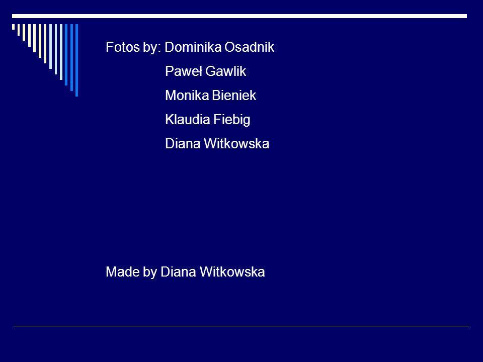 Fotos by: Dominika Osadnik Paweł Gawlik Monika Bieniek Klaudia Fiebig Diana Witkowska Made by Diana Witkowska