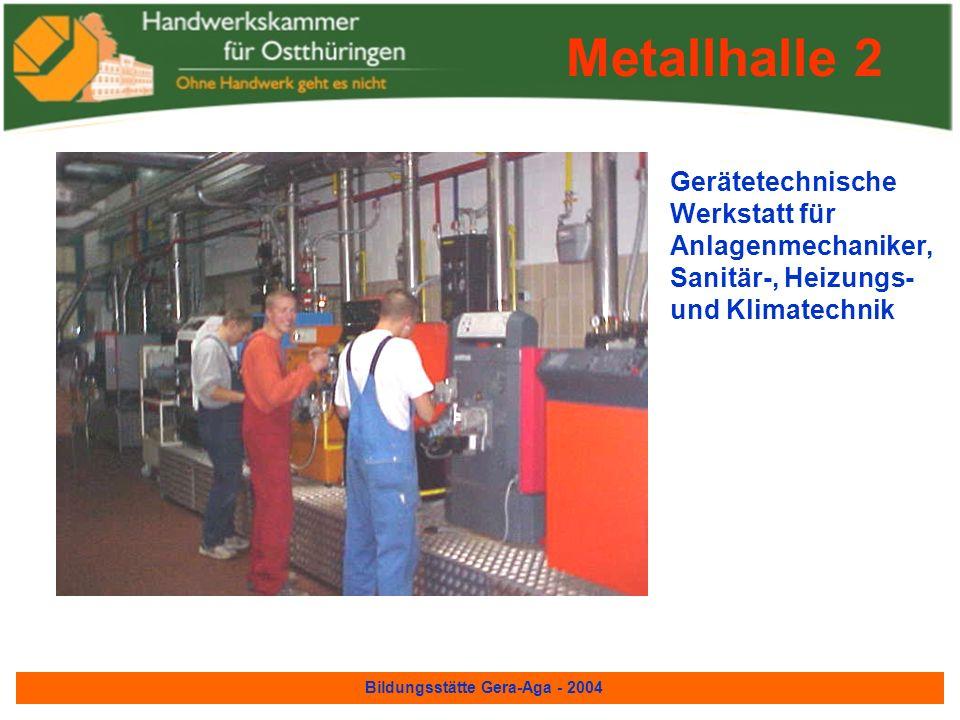 Bildungsstätte Gera-Aga - 2004 Metallhalle 2 Kfz- Hydraulik/Pneu- matikwerkstatt für Kfz-Mechaniker und Landmaschinen- mechaniker Metallhalle 2