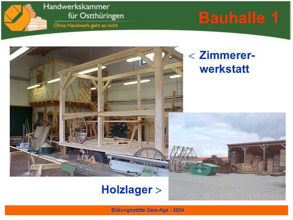 Bildungsstätte Gera-Aga - 2004 Bauhalle 1 In ihr befinden sich: Zimmerer- werkstatt Straßenbauer- werkstatt Maurer- werkstatt