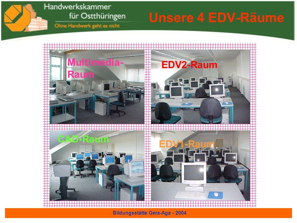 Bildungsstätte Gera-Aga - 2004 Theoriegebäude Friseurwerkstatt Fotografenwerkstatt CAD-Lehrraum EDV-Lehrräume Multimediaraum Unterrichtsräume