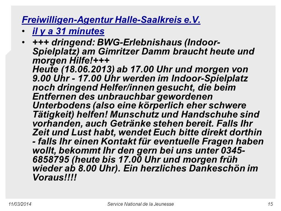 11/03/2014Service National de la Jeunesse15 Freiwilligen-Agentur Halle-Saalkreis e.V.