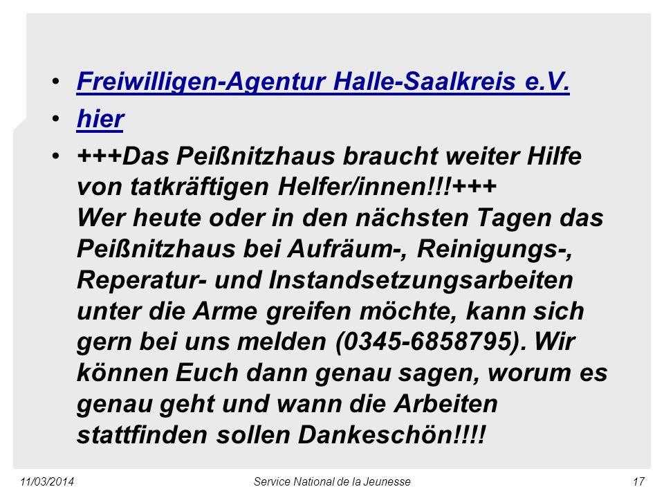 11/03/2014Service National de la Jeunesse17 Freiwilligen-Agentur Halle-Saalkreis e.V.