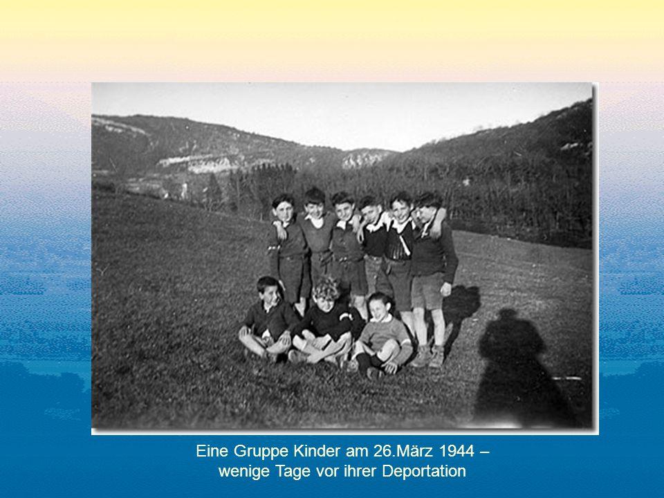 Eine Gruppe Kinder am 26.März 1944 – wenige Tage vor ihrer Deportation