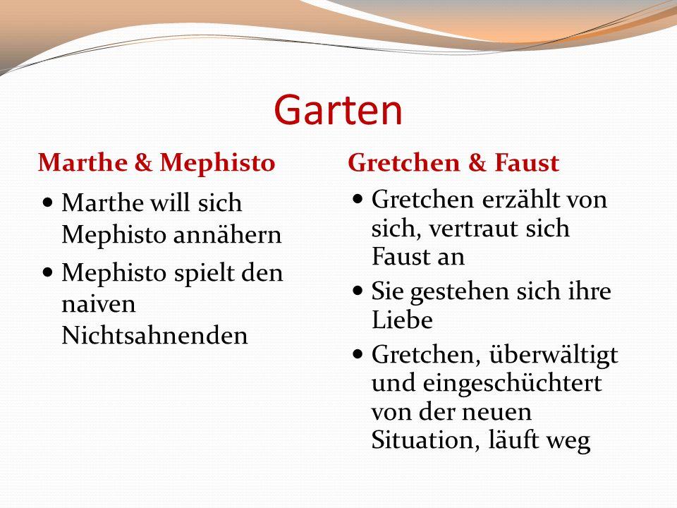 Garten Marthe & Mephisto Gretchen & Faust Marthe will sich Mephisto annähern Mephisto spielt den naiven Nichtsahnenden Gretchen erzählt von sich, vert