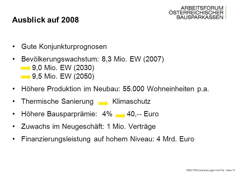 RBSK/PR&Veranstaltungen/HoS-Tha / Seite 15 Ausblick auf 2008 Gute Konjunkturprognosen Bevölkerungswachstum: 8,3 Mio.