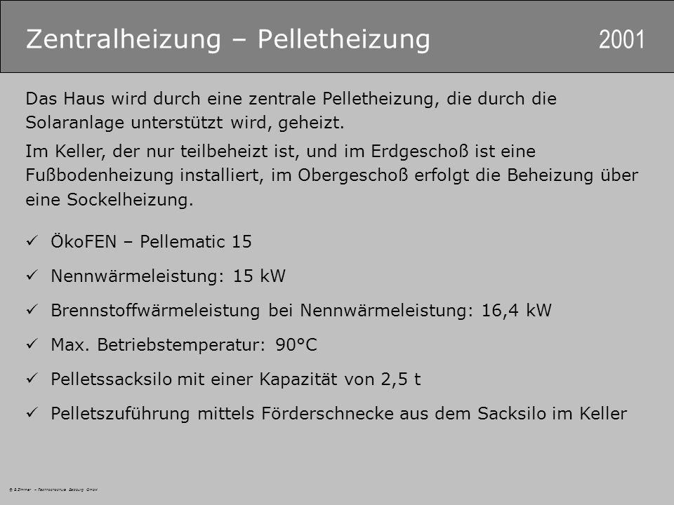 © B.Zimmer – Fachhochschule Salzburg GmbH Zentralheizung – Pelletheizung 2001 Das Haus wird durch eine zentrale Pelletheizung, die durch die Solaranlage unterstützt wird, geheizt.