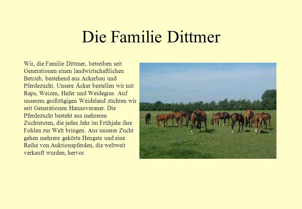 Die Familie Dittmer Wir, die Familie Dittmer, betreiben seit Generationen einen landwirtschaftlichen Betrieb, bestehend aus Ackerbau und Pferdezucht.