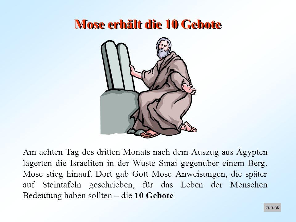 Inhalt 1. Mose erhält die 10 GeboteMose erhält die 10 Gebote 2. Die 10 GeboteDie 10 Gebote 3. Die Einteilung der 10 GeboteDie Einteilung der 10 Gebote