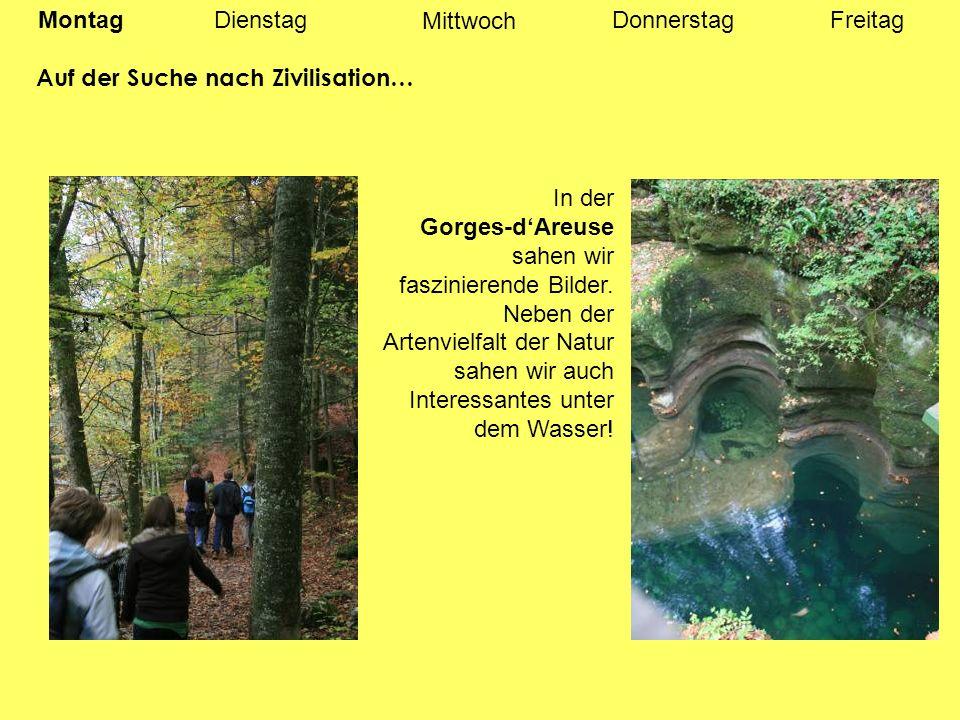 MontagDienstagDonnerstagFreitag Auf der Suche nach Zivilisation… In der Gorges-dAreuse sahen wir faszinierende Bilder.