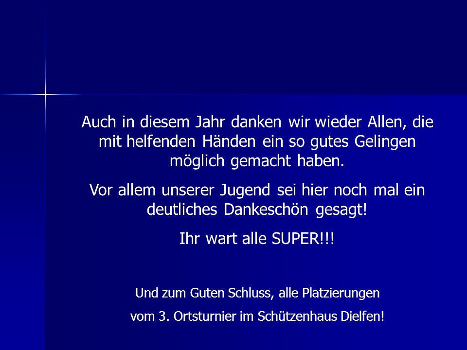 Mannschaftswertung ErgebnisMannschaftErgebnis 1 Waldrich Siegen 238 2 Dartgruppe Gernsdorf 1 221 3 Dartgruppe Gernsdorf 2 217 4 HFC Alba 95 T.