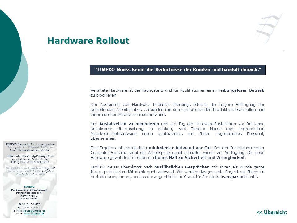 << Übersicht << Übersicht Veraltete Hardware ist der häufigste Grund für Applikationen einen reibungslosen Betrieb zu blockieren. Der Austausch von Ha