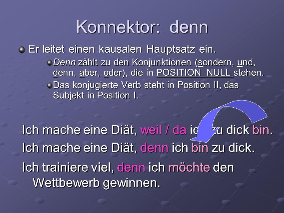 Konnektor: denn Er leitet einen kausalen Hauptsatz ein. Denn zählt zu den Konjunktionen (sondern, und, denn, aber, oder), die in POSITION NULL stehen.