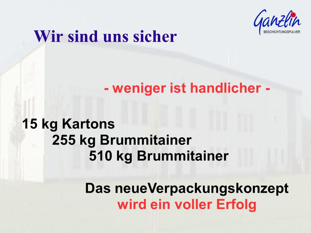 - weniger ist handlicher - 15 kg Kartons 255 kg Brummitainer 510 kg Brummitainer Das neueVerpackungskonzept wird ein voller Erfolg Wir sind uns sicher